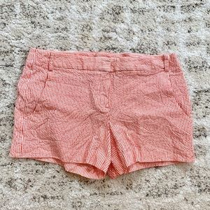 Theory coral colored strip shorts size 4